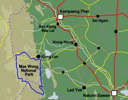 Mae Wong nationaal park kaartje