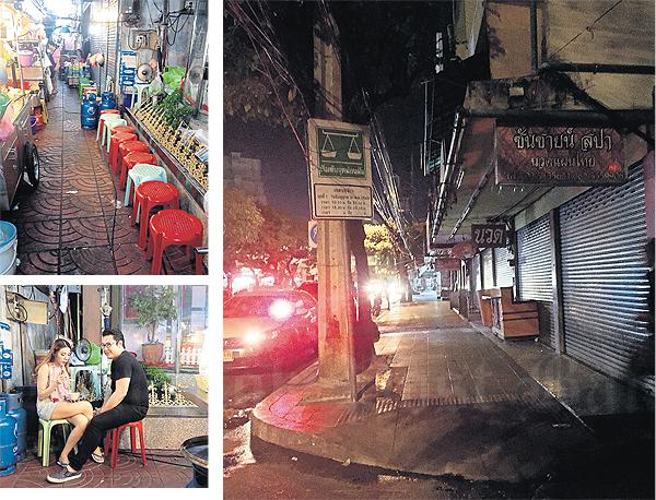 Straatverkopers Lat Phrao Soi 1 's avonds uitgestorven