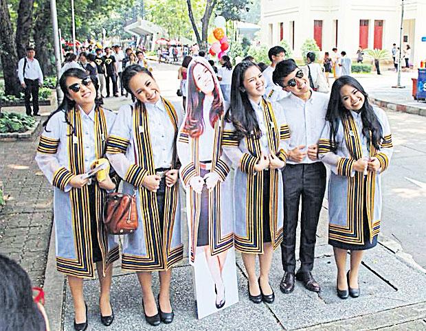 Graduation foto met zetstuk