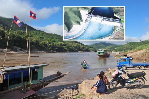 Mekong met de plaats van de geplande Pak Beng dam