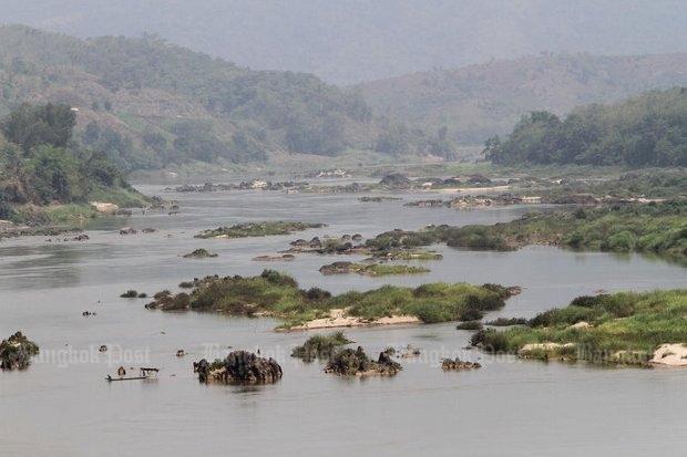 Mekong met eilandjes voor Chiang Saen