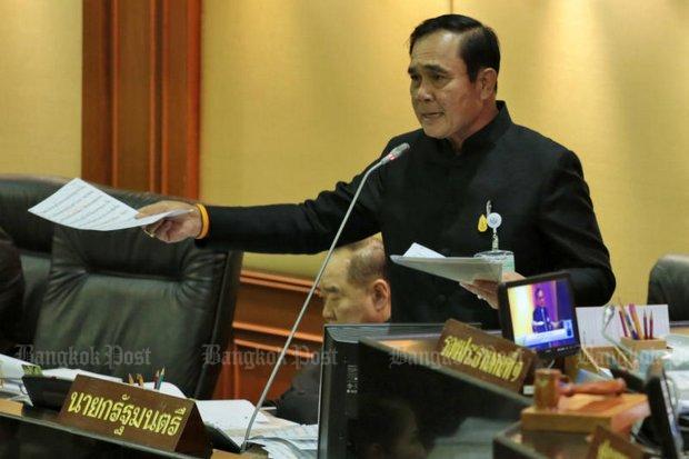 Prayut tijdens de behandeling van de begroting 2018