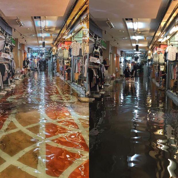Wateroverlast winkels Siam Square