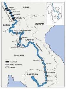 Kaartje met China's dammen in de Mekong