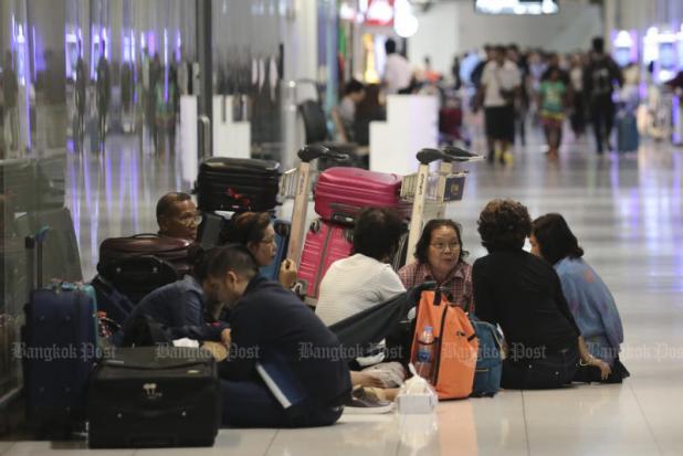 Gestrande passagiers op Suvarnabhumi