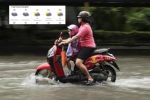 Overstroomde straten woensdag in Bangkok
