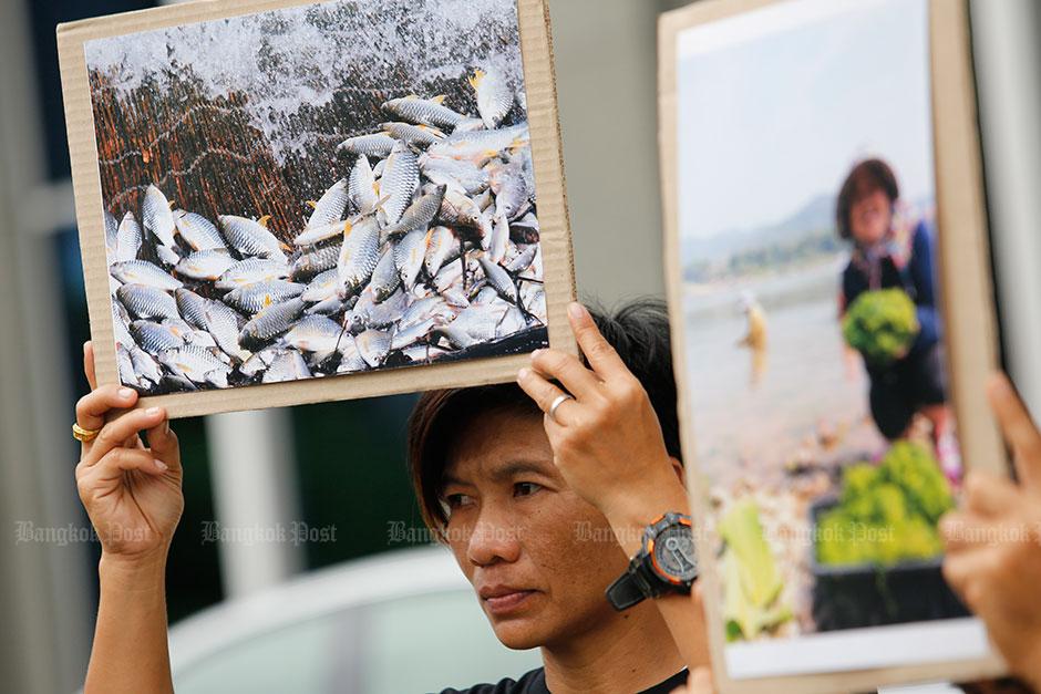 Protest tegen de nieuwe Pak Beng dam in Laos