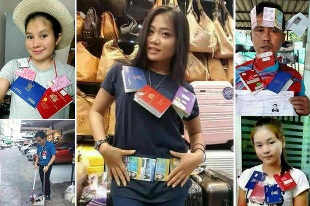 Migranten ui Myanmar met hun ID-kaart en werkvergunning