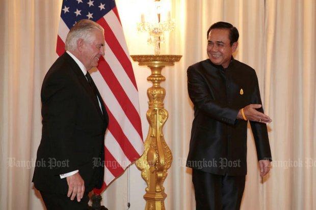 Prayut begroet Tillerson met gulle lach