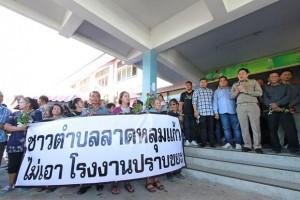 Protest tegen recyclingbedrijf Pathum Thani