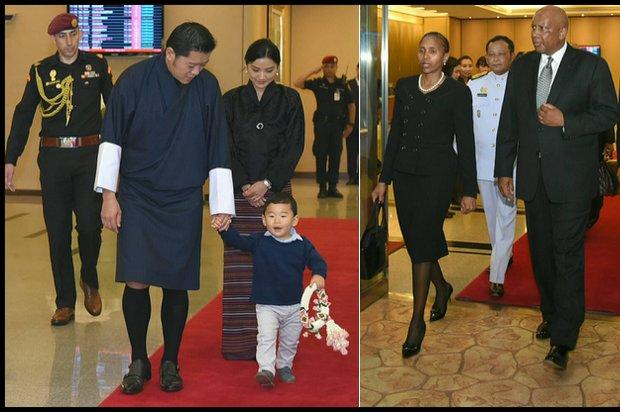 Aankomst koning en koningin van Bhutan en hun 1-jarige zoon en de koning en koningin van Lesotho.
