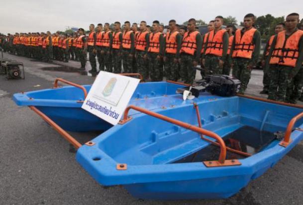 Inspectie van legerpersoneel en boten