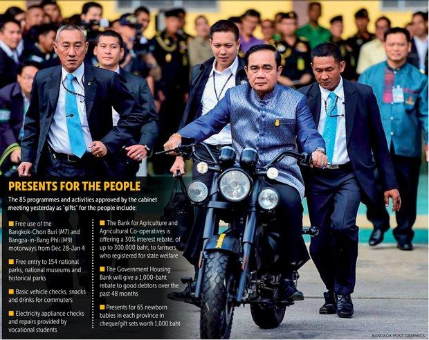 Prayut maakt een proefritje met een elektrisch aangedreven motorfiets